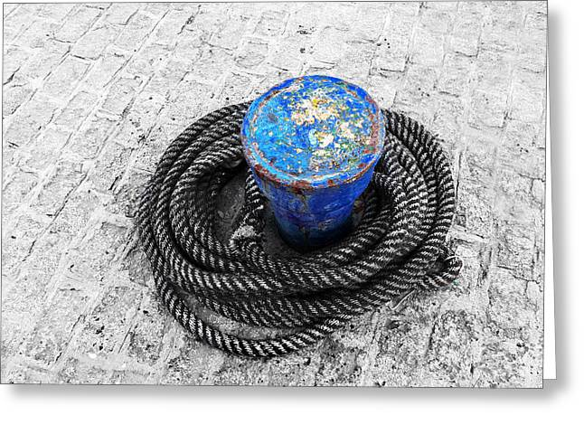 Bollard Greeting Cards - Rusty Bollard With Ropes Greeting Card by Mikel Martinez de Osaba