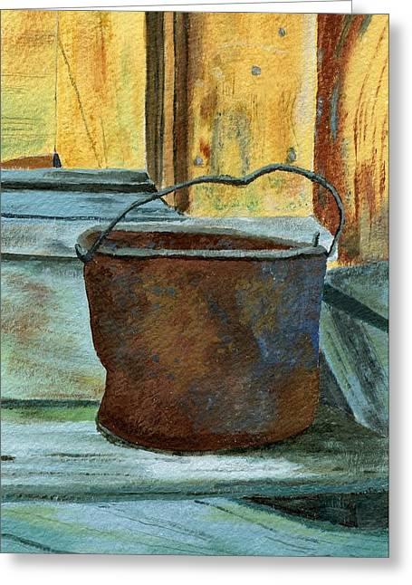 Rust Bucket Greeting Cards - Rusty Bucket Greeting Card by Lynne Reichhart
