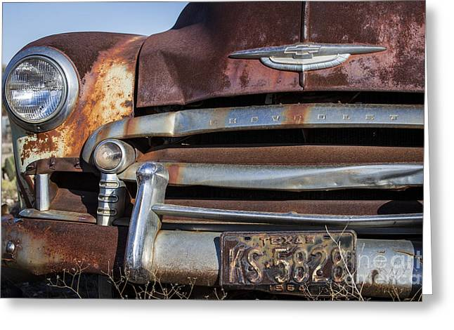 Rusty But Trusty Chevy Greeting Card by Amber Kresge