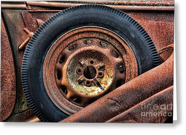 Lugs Greeting Cards - Rusty Junkyard Side Mount Spare Tire Greeting Card by Henry Kowalski