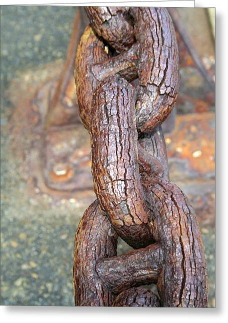 Linked Pyrography Greeting Cards - Rusty Chain Greeting Card by DUG Harpster