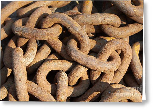 Junk Greeting Cards - Rusty chain Greeting Card by Tony Cordoza