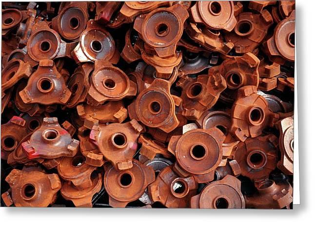 Rusty Cogwheels Greeting Card by Dirk Wiersma