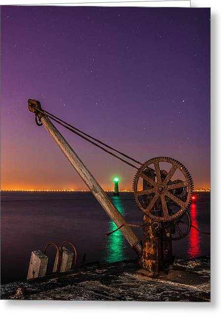 Davit Greeting Cards - Rusty Davit and Two Lighthouses Greeting Card by Semmick Photo