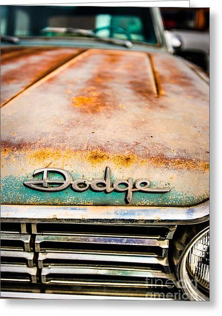 Rusted Cars Greeting Cards - Rusty Dodge Hood Greeting Card by Alexander Kunz