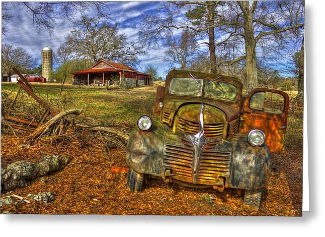 Old Barns Greeting Cards - Rusty Dodge Dump Truck Country Resting Place Greeting Card by Reid Callaway