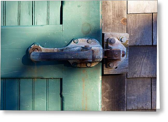 Old Maine Houses Greeting Cards - Rusty Door Latch Greeting Card by Stuart Litoff