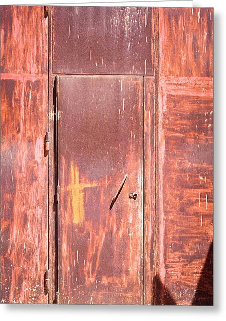 Industrial Background Greeting Cards - Rusty doorway Greeting Card by Tom Gowanlock