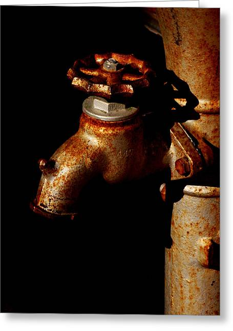 Plumb Greeting Cards - Rusty Faucet Greeting Card by Art Block Collections