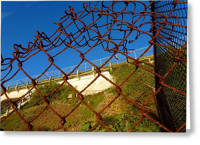 Alcatraz Pyrography Greeting Cards - Rusty Fence Greeting Card by Fabien White