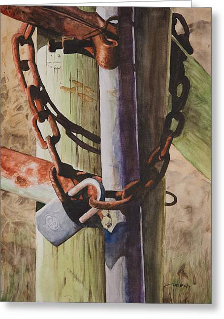 Rusty Greeting Cards - Rusty Fence Gate Greeting Card by Christopher Reid