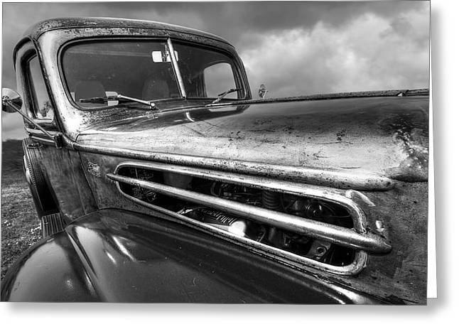 Monochrome Hot Rod Greeting Cards - Rusty Ford 1942 Black and White Greeting Card by Gill Billington