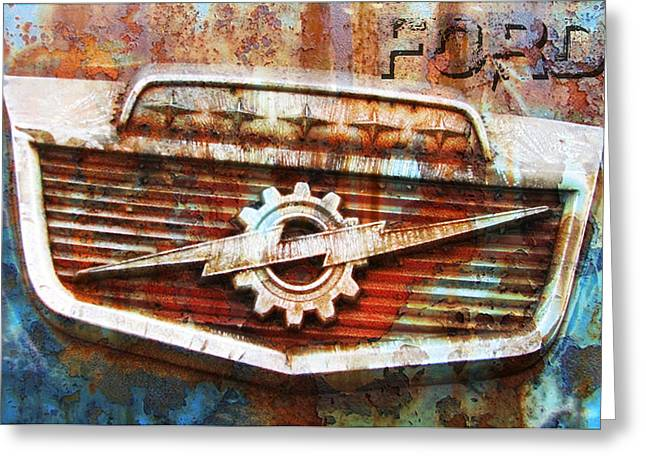 Rusted Cars Digital Art Greeting Cards - Rusty Ford Greeting Card by Greg Sharpe