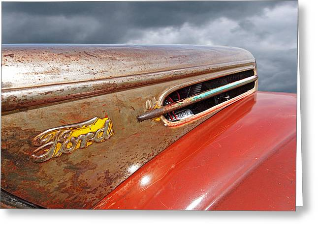 Old Street Greeting Cards - Rusty Ford Hood and Fender 1942 Greeting Card by Gill Billington