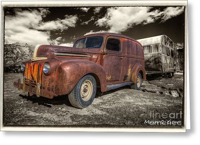 Abstract Digital Pyrography Greeting Cards - Rusty Ford Greeting Card by Mauro Celotti