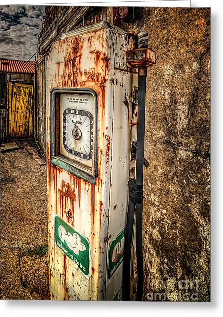 Rusty Gas Pump Greeting Card by Adrian Evans
