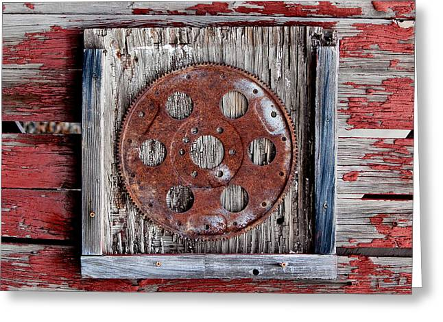 Punched Holes Greeting Cards - Rusty Gear Greeting Card by Art Block Collections