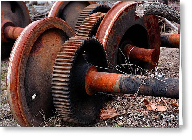 Axle Gear Greeting Cards - Rusty Gears Greeting Card by Mike Flynn
