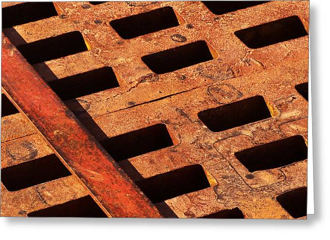 Grate Photographs Greeting Cards - Rusty Grate Greeting Card by Art Block Collections