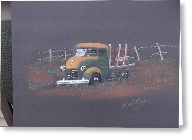 Many Pastels Greeting Cards - Rusty Green Truck Greeting Card by Mario Elia