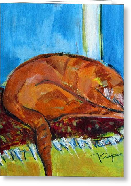 Covered Head Paintings Greeting Cards - Rusty Hiding His Head Greeting Card by Betty Pieper