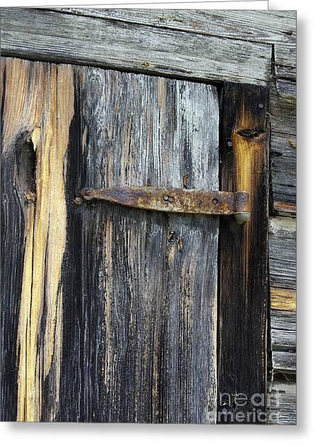 Door Hinges Greeting Cards - Rusty Hinge Greeting Card by Skip Willits