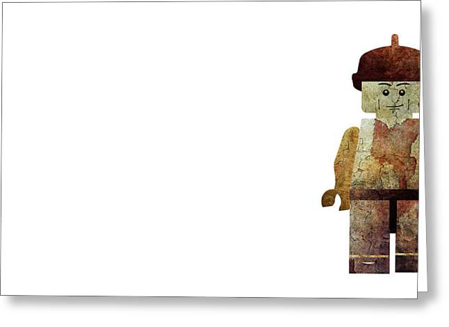 Industrial Background Mixed Media Greeting Cards - Rusty lego man Greeting Card by Jonas Leonas