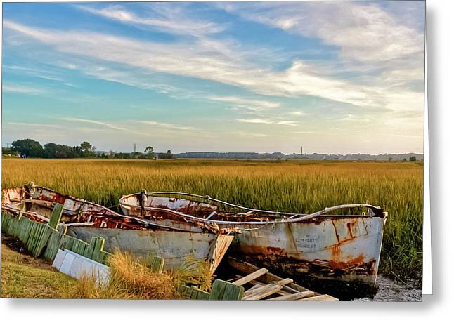 Rust Greeting Cards - Rusty Lowcountry Boats Greeting Card by Drew Castelhano