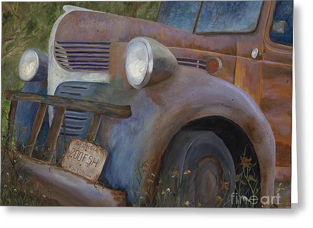 Rusted Cars Paintings Greeting Cards - Rusty Memories Greeting Card by Catherine Davis