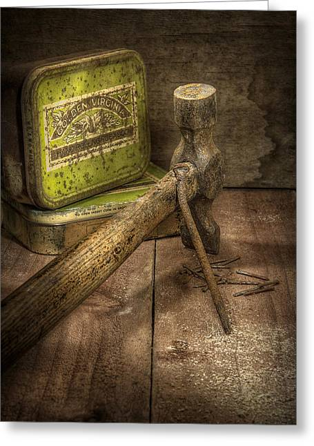 Rusty Nail Greeting Cards - Rusty Nail and Hammer Greeting Card by Ian Barber