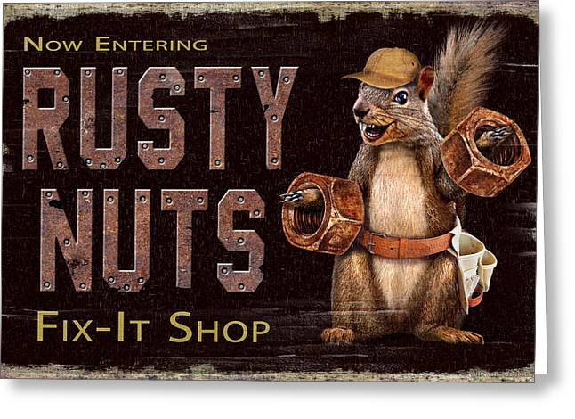 Hunting Cabin Greeting Cards - Rusty Nuts Greeting Card by JQ Licensing