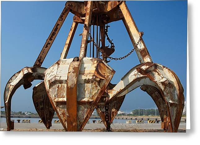 Heavy Chains Greeting Cards - Rusty Obsolete Dredging Equipment Greeting Card by Yali Shi