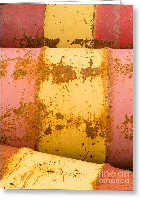 Rusty Oil Drum Greeting Cards - Rusty oil barrels yellow red background pattern Greeting Card by Stephan Pietzko
