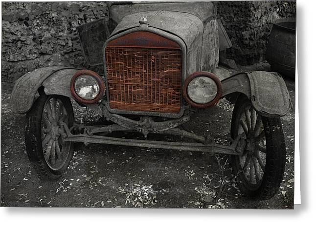 Ford Model T Car Greeting Cards - Rusty Ol Ford Greeting Card by Kathleen Scanlan