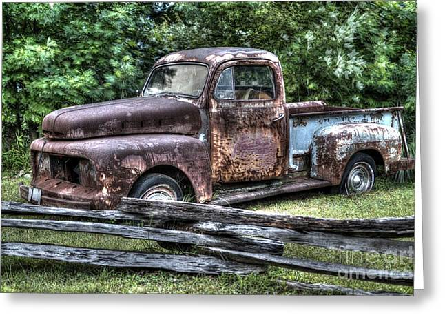 Bad Ass Greeting Cards - Rusty Old Beater Ford Truck Greeting Card by Robert Loe