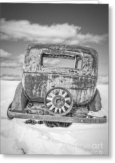 Winter Classic Greeting Cards - Rusty old car in the snow Greeting Card by Edward Fielding