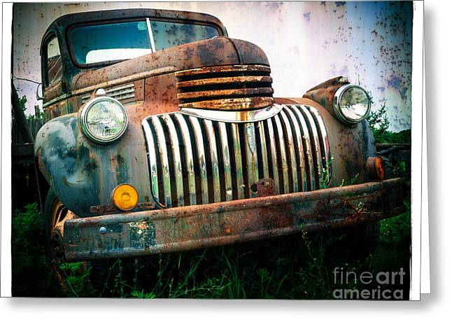 Chevy Pickup Truck Greeting Cards - Rusty Old Chevy Pickup Greeting Card by Edward Fielding