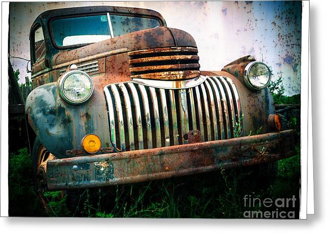 Classic Pickup Truck Greeting Cards - Rusty Old Chevy Pickup Greeting Card by Edward Fielding