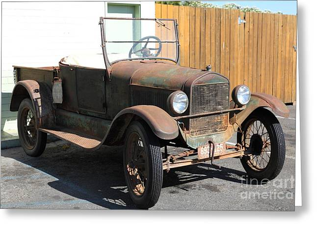 Ford Model T Car Greeting Cards - Rusty Old Ford Jalopy 5D24641 Greeting Card by Wingsdomain Art and Photography