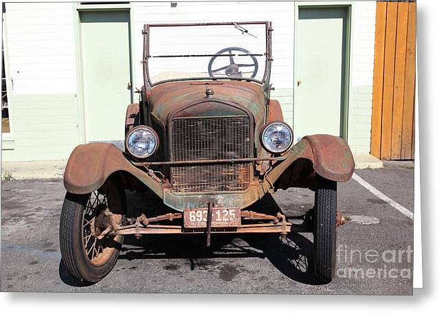 Ford Model T Car Greeting Cards - Rusty Old Ford Jalopy 5D24642 Greeting Card by Wingsdomain Art and Photography