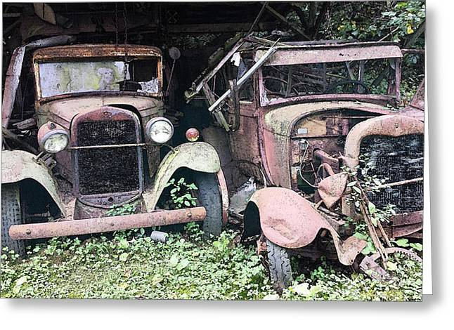 Rusted Cars Digital Art Greeting Cards - Rusty Old Friends Greeting Card by Michael Spano