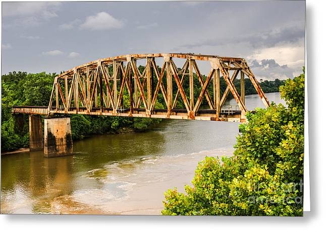 Sue Smith Greeting Cards - Rusty Old Railroad Bridge Greeting Card by Sue Smith