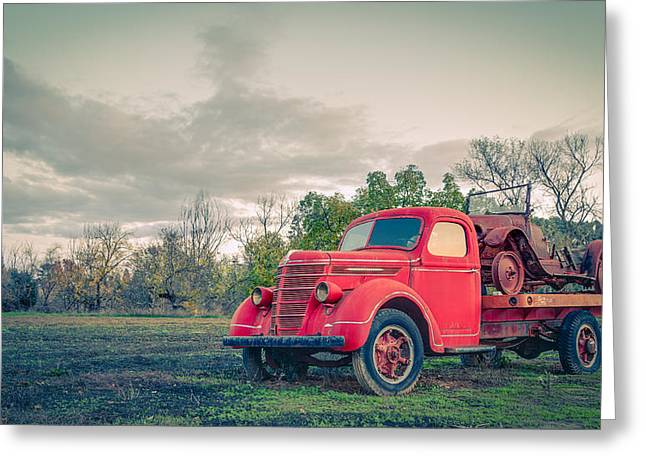 Vintage Auto Greeting Cards - Rusty Old Red Pickup Truck Greeting Card by Sarit Sotangkur