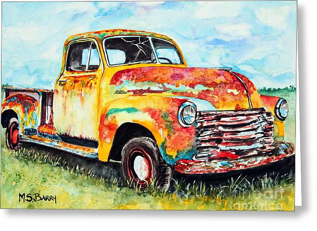 Old Trucks Greeting Cards - Rusty Old Truck Greeting Card by Maria Barry