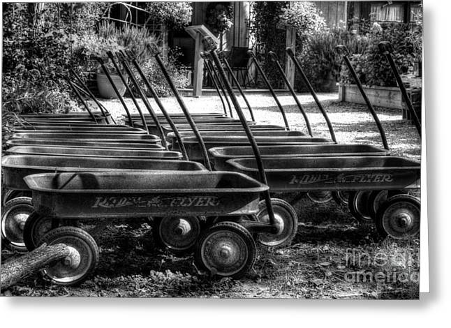 Pull Greeting Cards - Rusty Old Wagons BW Greeting Card by Mel Steinhauer