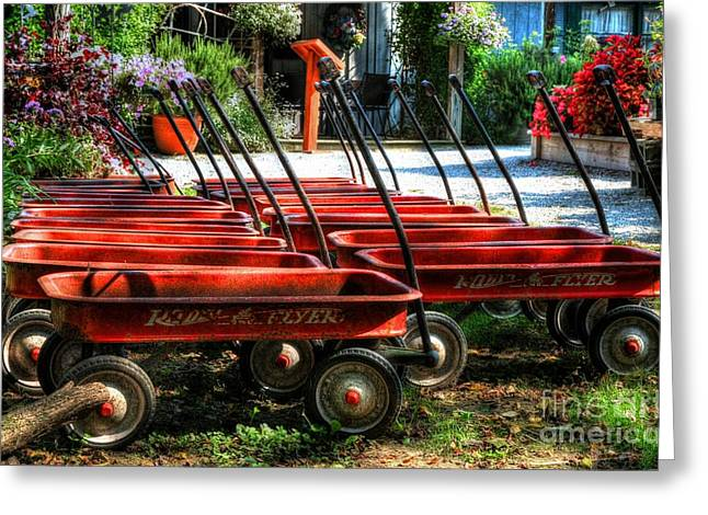 Red Wagon Greeting Cards - Rusty Old Wagons Greeting Card by Mel Steinhauer