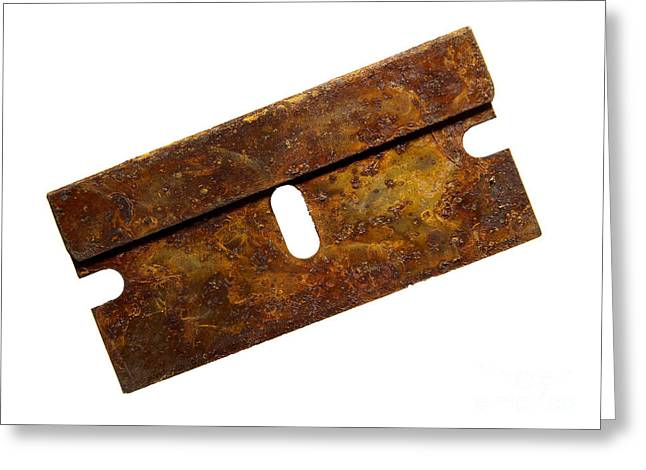 Oxidation Greeting Cards - Rusty razor Greeting Card by Tony Cordoza