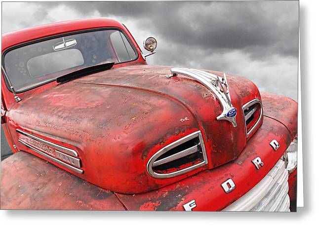 Ford Custom V8 Greeting Cards - Rusty Red 48 Ford V8 Greeting Card by Gill Billington