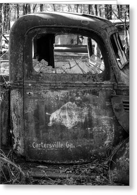 Old Trucks Greeting Cards - Rusty Rino in Black and White Greeting Card by Greg Mimbs