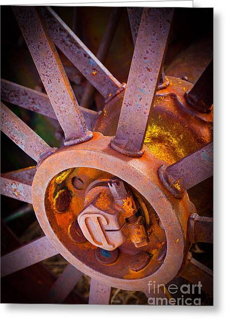 Agricultural Greeting Cards - Rusty Spokes Greeting Card by Inge Johnsson